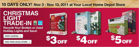 now is the time to get recycle your old broken and used incandescent christmas lights let your local home depot store recycle them for you and give you a