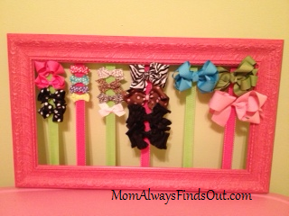Diy hair bow holder tutorial that used to be a picture frame this solutioingenieria Gallery